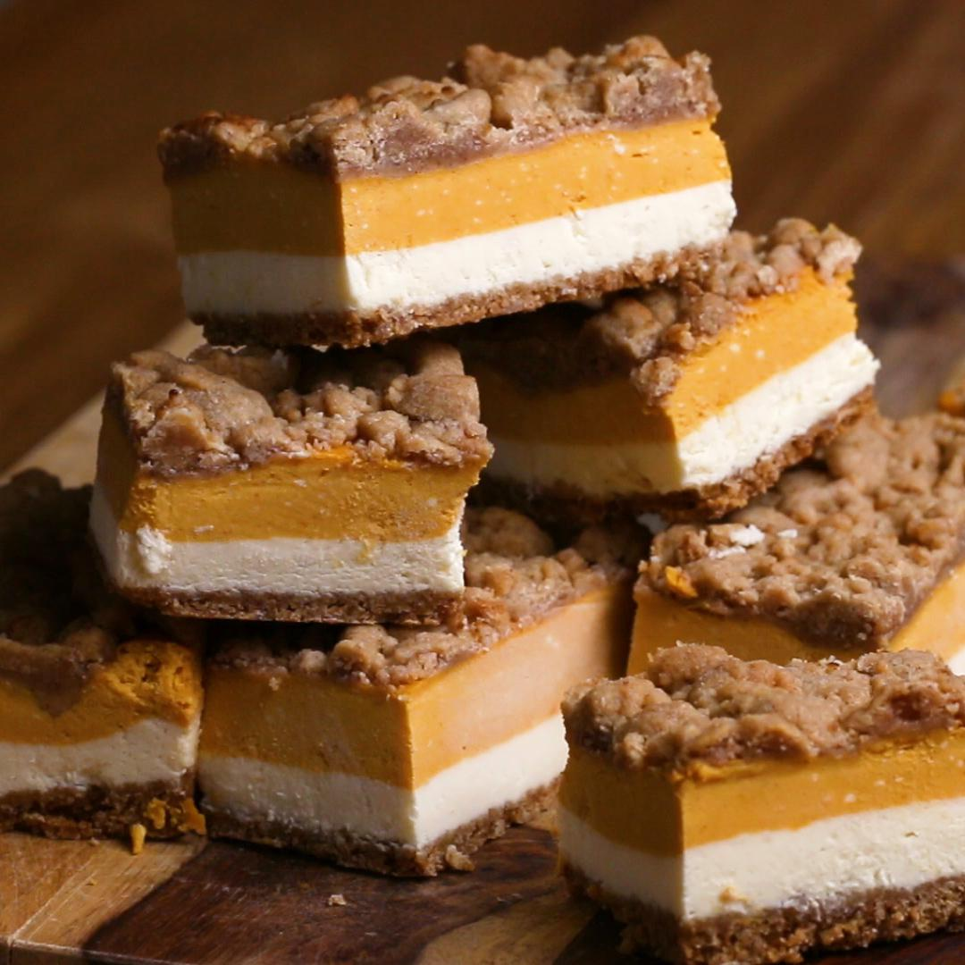 Pumpkin Cheesecake Bars by Tasty.co