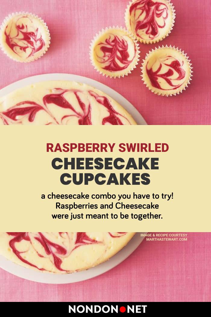 Raspberry Swirled Cheesecake Cupcakes- Raspberries and cheesecake together #Raspberry #Cheesecake #Cupcakes #Recipe #RaspberryRecipe #CheesecakeRecipe #CupcakesRecipe #CupcakeRecipe #Cupcake #grahamcracker #creamcheese #cheese #vanillaextract #holidayRecipe #holidayCakes #holidayCake #dessert #Raspberries