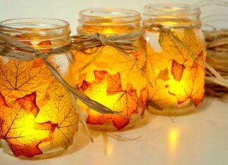 Autumn Leaf, Mason Jar Candle Holder