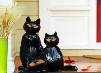 DIY black cat o'lanterns