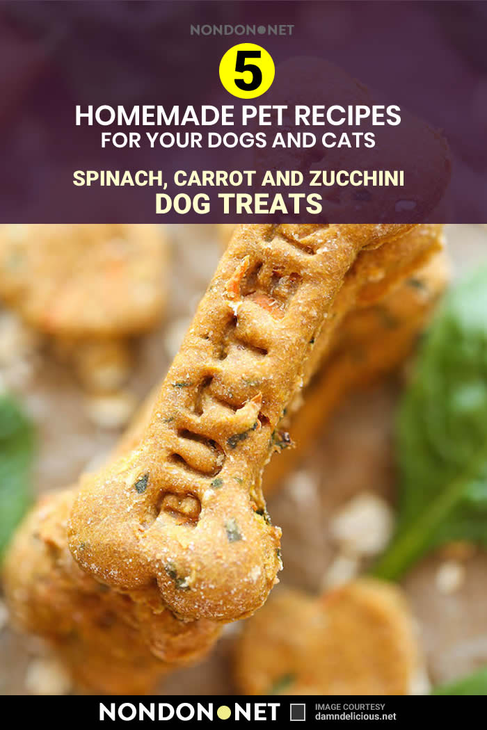 5 Homemade Pet Recipes for your Dogs and Cats- Spinach, Carrot and Zucchini Dog Treats #HomemadePetRecipes #HomemadeRecipes #Homemade #PetRecipes #DogTreats #Dogs #Cats #pumpkinpuree #Spinach #Carrot #Zucchini #peanutbutter #wheatflour