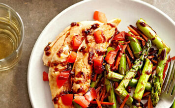 Balsamic Chicken Recipe with Asparagus and Tomatoes