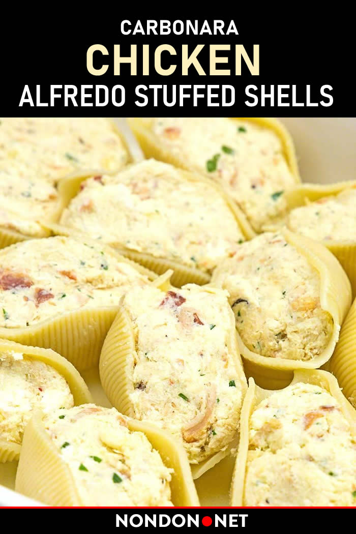 Carbonara Chicken Alfredo Stuffed Shells. #Carbonara #Chicken #Alfredo #StuffedShells #CarbonaraChicken #AlfredoStuffed #ChickenShells #alfredoSauce