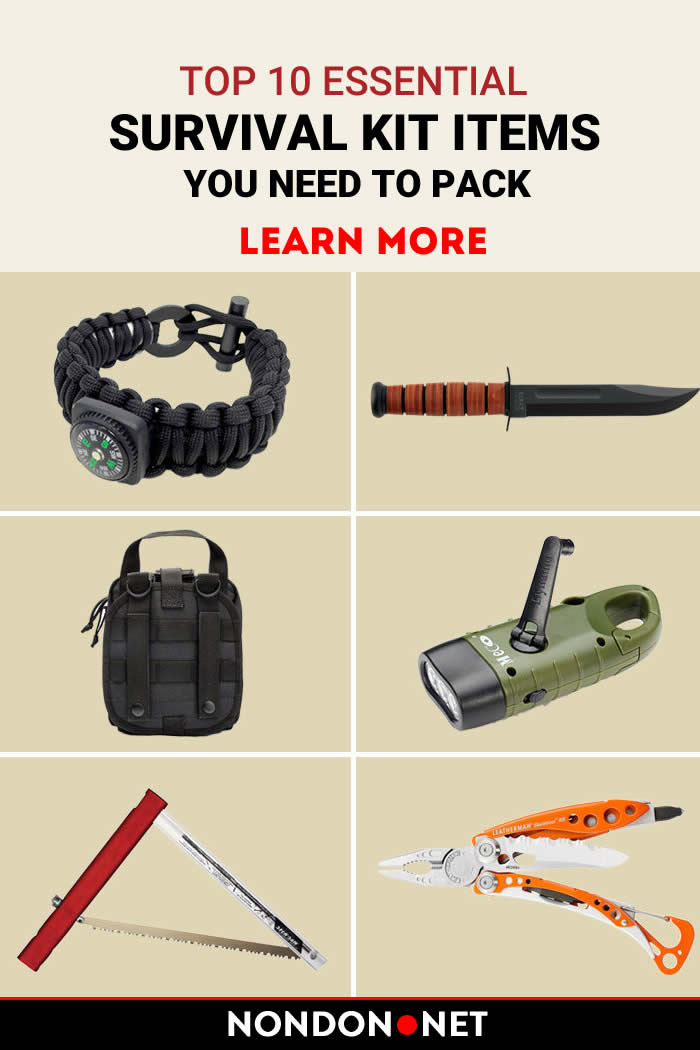 Top 10 Essential Survival kit items you need to Pack-Learn more from the website. #SurvivalKit #EssentialSurvivalKit #Survival #PLB #cellphone #SignalMirror #Waterbottle #firstaid #Spaceblanket #Whistle