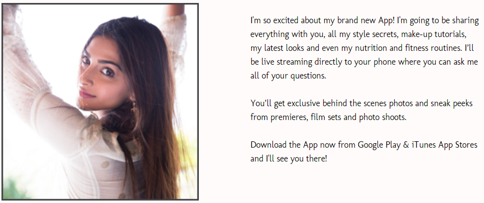 what sonam kapoor is saying about her brand new mobile app? Screenshot from sonam kapoor dotnet