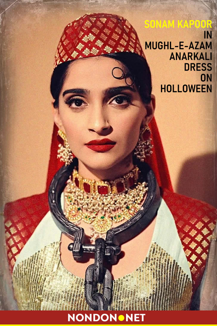 Sonam Kapoor in Mughl-e-Azam Anarkali dress on holloween festival. Photo: Sonam Kapoor's Instagram #SonamKapoor #Sonam #Kapoor #holloween #anarkali #mugleazam