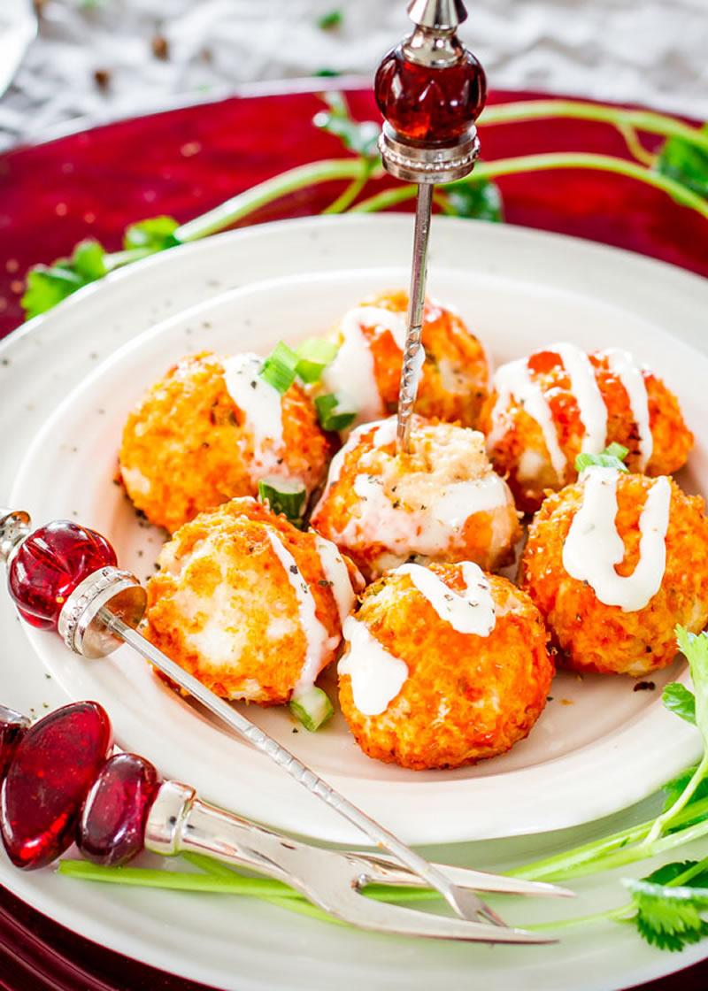 Crockpot Buffalo Chicken Meatballs with Blue Cheese Dressing from JoCooks