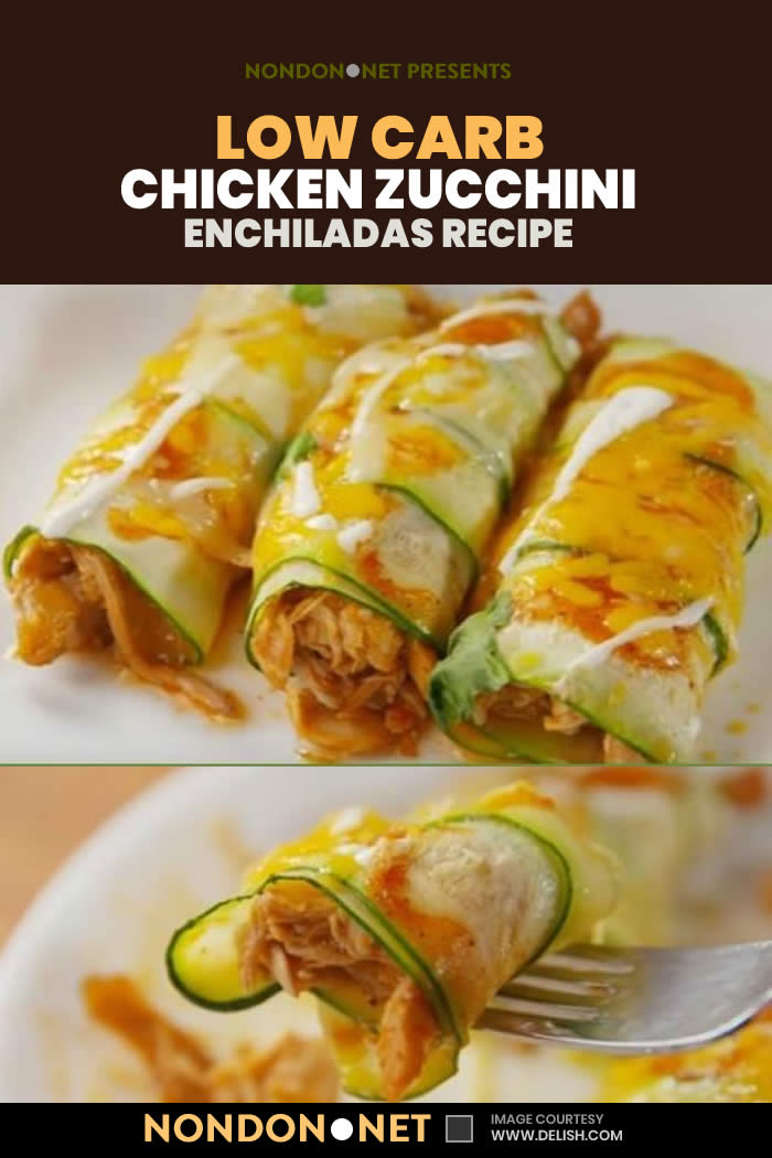 Low Carb Chicken Zucchini Enchiladas Recipe- made with zucchini and is loaded with enchilada sauce chicken and cheese #LowCarb #Carb #LowCarbFood #LowCarbChicken #ChickenZucchini #Chicken #Zucchini #ChickenRecipe #ZucchiniRecipe #ItalianDish #MainDish #SideDish #Enchiladas #enchiladasauce #cheese