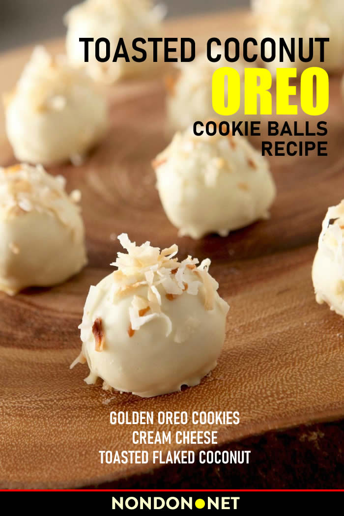#OREO #Coconut #CookieBalls #Cookies #creamcheese #flakedCoconut #ToastedCoconut #OREOCookie Toasted Coconut OREO Cookie Balls- Golden OREO Cookies, cream cheese, and toasted flaked coconut are rolled together