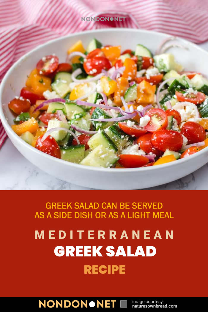 Great Mediterranean Greek Salad is a salad of juicy tomatoes, crisp cucumber, sliced red onion, green pepper, crumbly feta cheese and plump kalamata olives #Mediterranean #GreekSalad #tomatoes #cucumber #redonion #greenpepper #fetacheese #kalamataolives