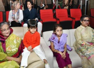 Prime Minister Sheikh Hasina enjoyed the program organized at the Bangabandhu Stadium. At that time, she was accompanied by her younger sister Sheikh Rehana, her relatives. nondon blog