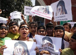 Women protesting in India this week to bring attention to rape and sexual violence cases. Raminder Pal Singh / EPA