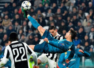 Ronaldo scored a bicycle shot in the quarter-finals of the Champions League on Juventus grounds. Photo: Samakal Online