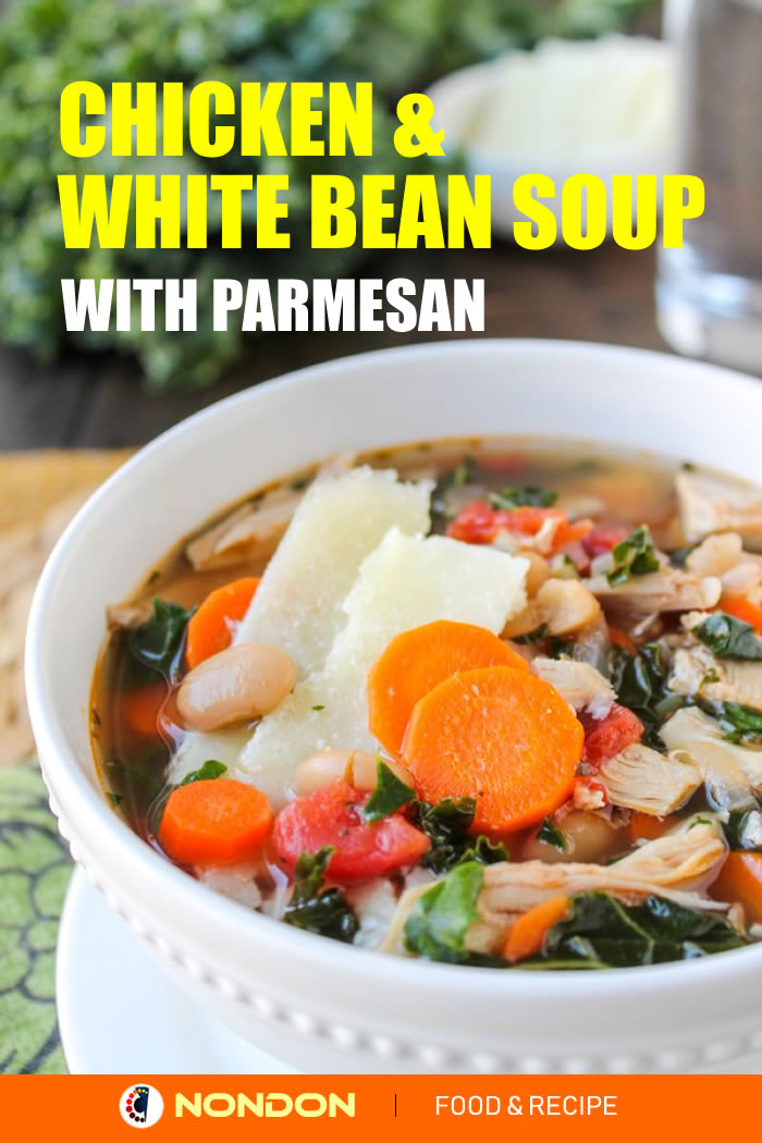 #WhiteBeanSoup #ChickenSoup #BeanSoup #KaleSoup Kale, Chicken & White Bean Soup with Parmesan #Parmesan #ParmesanSoup #ChickenParmesan #oliveoil #ReggianoCheese