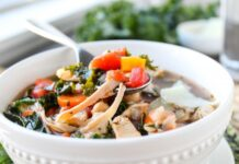 Kale, Chicken & White Bean Soup with Parmesan