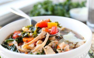Kale, Chicken & White Bean Soup with Parmesan