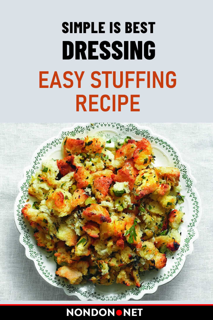 Simple is Best Dressing Easy Stuffing Recipe. Recipe for Thanksgiving #Thanksgiving #ThanksgivingRecipe #StuffingRecipe #Stuffing #Dressing #SimpleRecipe #EasyRecipe #SideDish #yellowonion #rosemary #thyme #koshersalt #blackpepper #chickenbroth