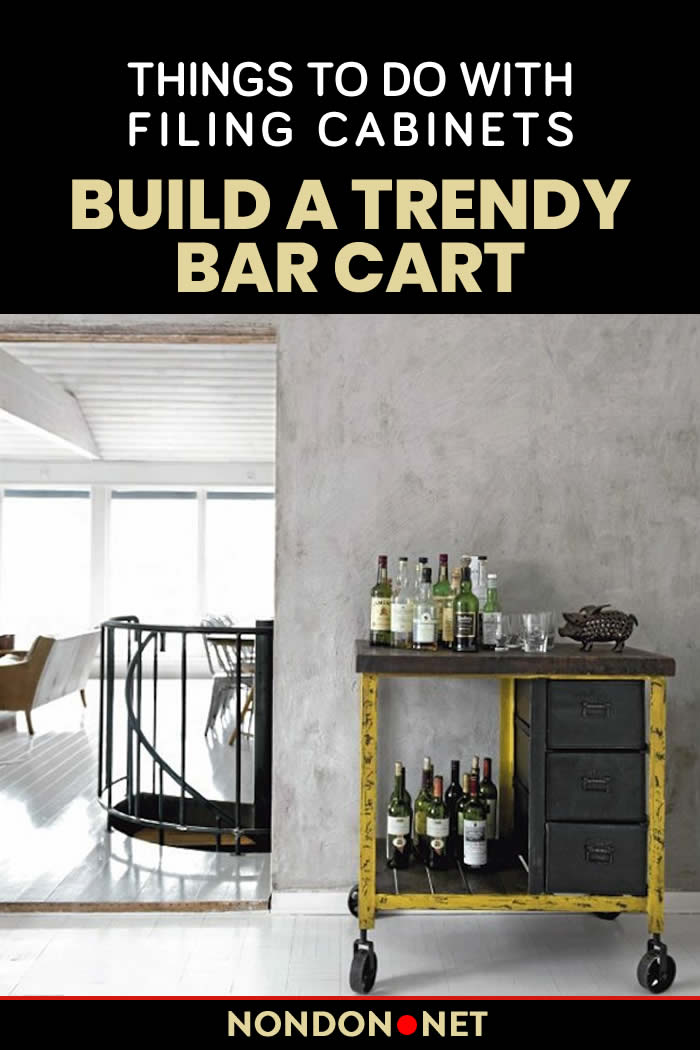 Build a Trendy Bar Cart- Things to Do With Filing Cabinets #KitchenCart #Kitchen #Cart #FilingCabinets #Cabinets #DIYproject #DIY #Homeappliance #DIYconversions #Garden #GardenTools #BarCart