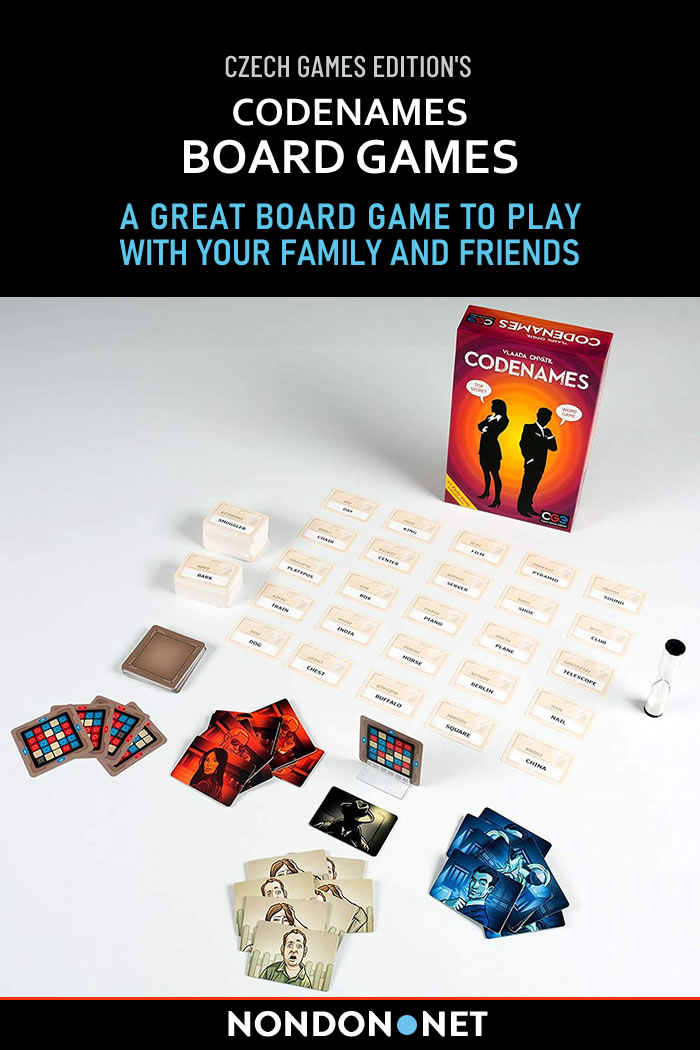 Codenames Board Games - A Great Board Game to Play with Your Family and Friends #Codenames #BoardGames #Games #wordGame #SocialWordGame #TwoRival #spymasters #assassincard #keycards #rulebook #doubleAgentCard #CzechGames