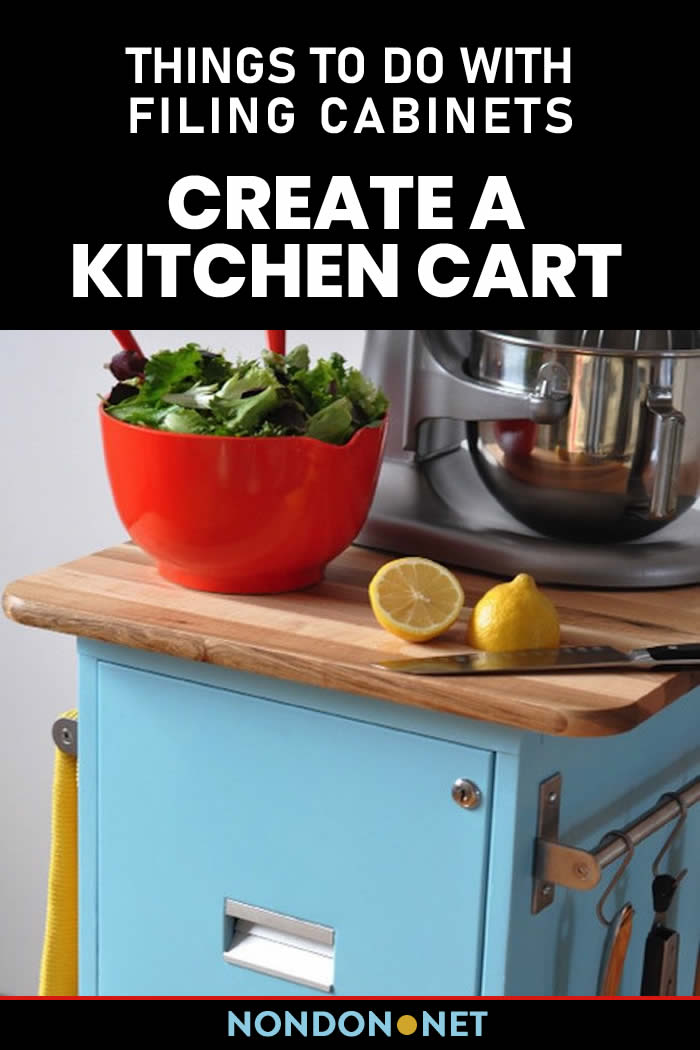 Create a Kitchen Cart- Things to Do With Filing Cabinets #KitchenCart #Kitchen #Cart #FilingCabinets #Cabinets #DIYproject #DIY #Homeappliance #DIYconversions