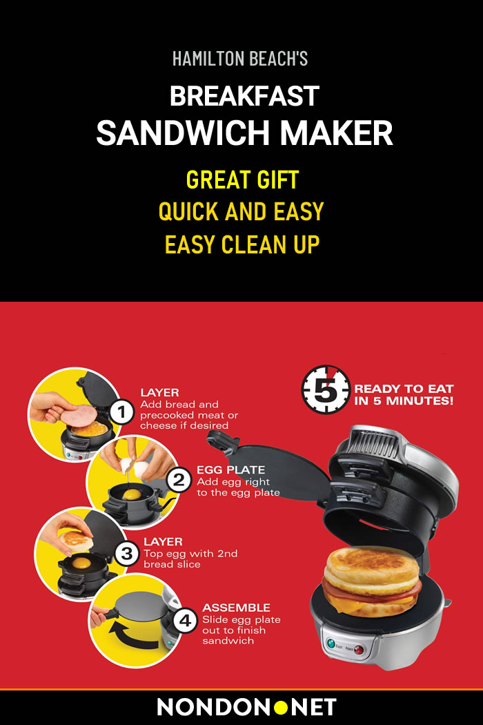 Hamilton Beach Breakfast Sandwich Maker, cooks your custom sandwich in just 5 minutes. #healthymeal #Hamilton #HamiltonBeach #Breakfast #Sandwich #SandwichMaker #ChristmasGift #Christmas #BirthdayGift #FathersDay #MothersDay #Graduation #breakfastMaker #Keto #Paleo #PaleoDiets #CookingPlate
