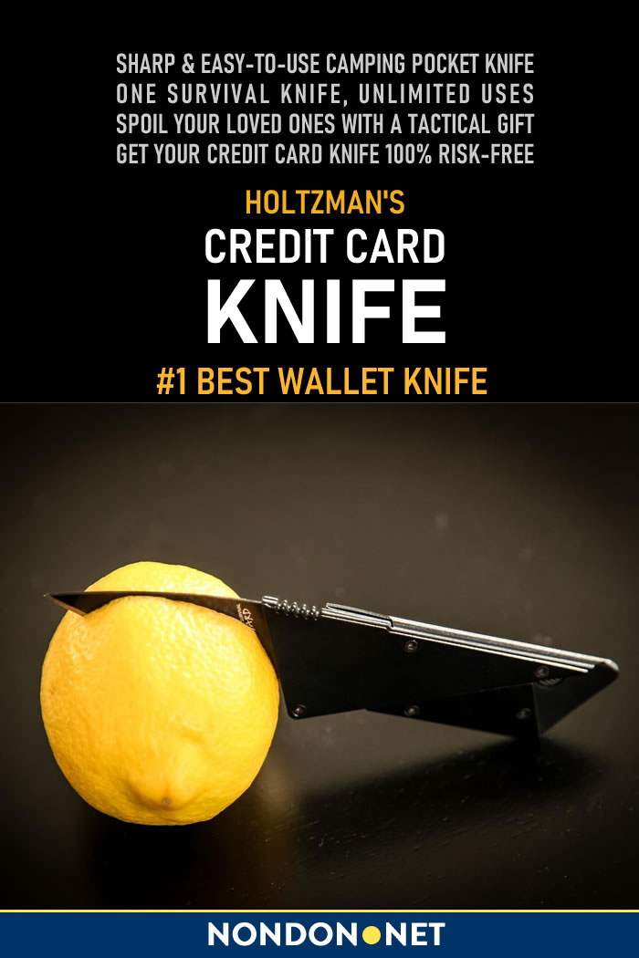 Holtzman's Credit Card Knife- Best Wallet Knife #Holtzman #CreditCard #Knife #WalletKnife #camping #hiking #hunting #backpacking #fishing #trekking #EDCknife #survivalKit #outdoor A lightweight and practical credit card knife feature a foldable sharp knife