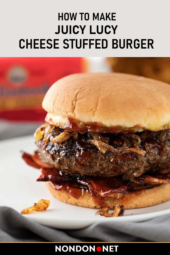 Cheese Stuffed Burger Recipe- Juicy Lucy. Not an average #cheeseburger, this #burger is stuffed with caramelized #onions and plenty of buttery sharp #cheddar #cheese! #JuicyLucy #CheeseStuffed #BurgerRecipe