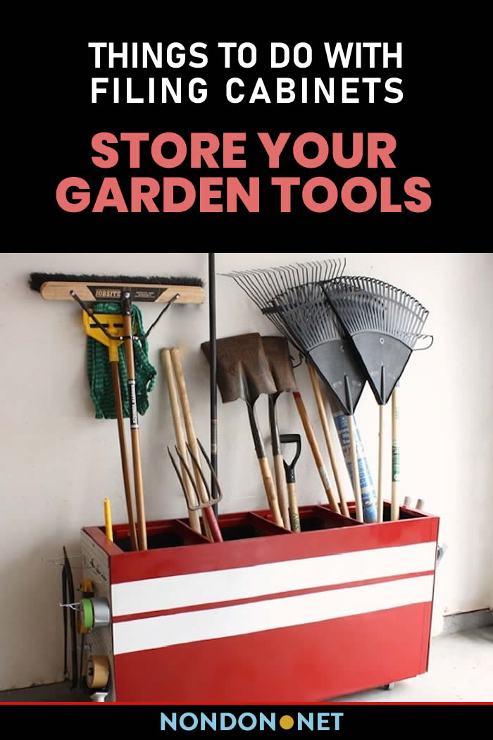 Store Your Garden Tools- Things to Do With Filing Cabinets #KitchenCart #Kitchen #Cart #FilingCabinets #Cabinets #DIYproject #DIY #Homeappliance #DIYconversions #Garden #GardenTools