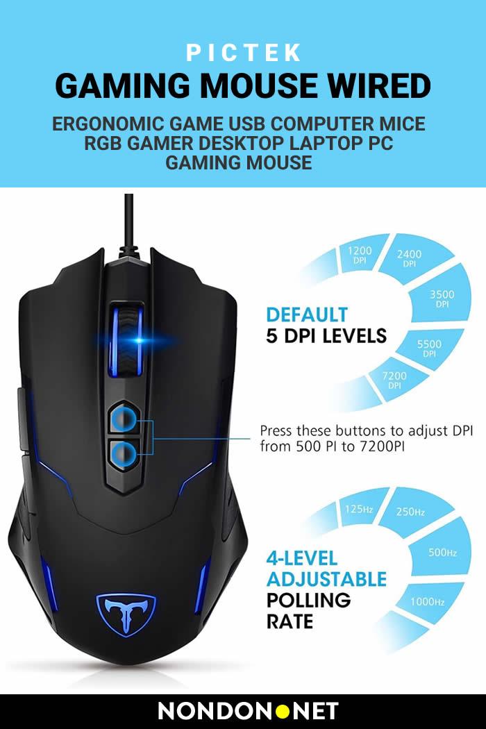 Gaming Mouse Wired- Pictek Ergonomic Game USB Computer Mice RGB Gamer Desktop Laptop Pc Gaming Mouse #GamingMouse #Mouse #Game #ComputerMice #Desktop #Laptop #Pc #LaptopGame #PcGame #DesktopGame #DesktopMouse #PcMouse #LaptopMouse #Pictek #USB