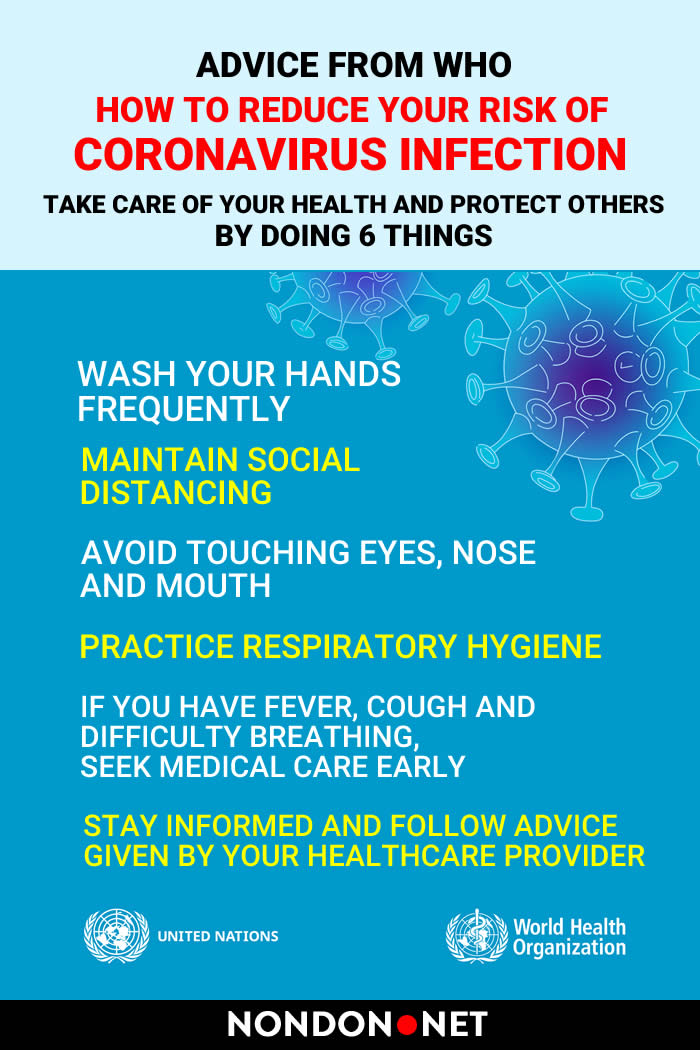 How to Reduce Your Risk of Coronavirus (Covid-19) Infection #Coronavirus #CoronavirusInfection #Covid #Covid19 #WHO #SARS #MERS #WorldHealthOrganization #pains #diarrhea #breathing #Corona #healthcare #handrub #CoronavirusDisease #Coronaviruses