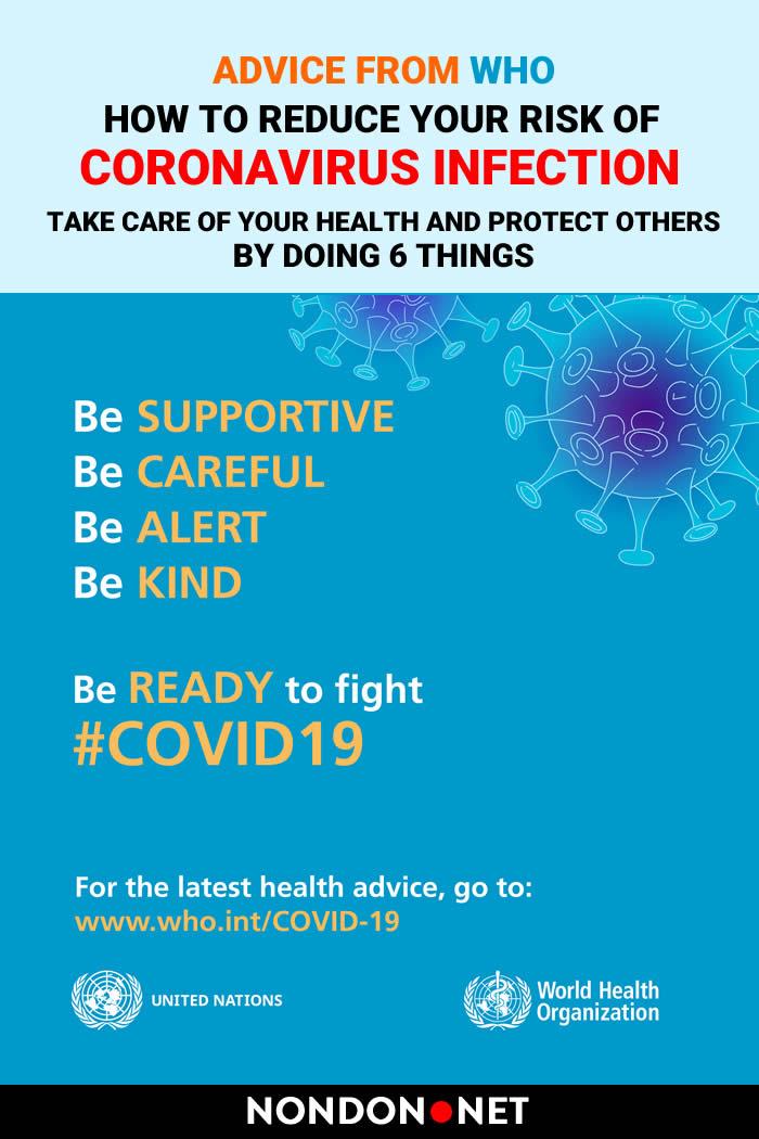 How to Reduce Your Risk of Coronavirus (Covid-19) Infection #Coronavirus #CoronavirusInfection #Covid #Covid19 #WHO #SARS #MERS #WorldHealthOrganization #pains #diarrhea #breathing #Corona #healthcare #handrub #CoronavirusDisease #Coronaviruses