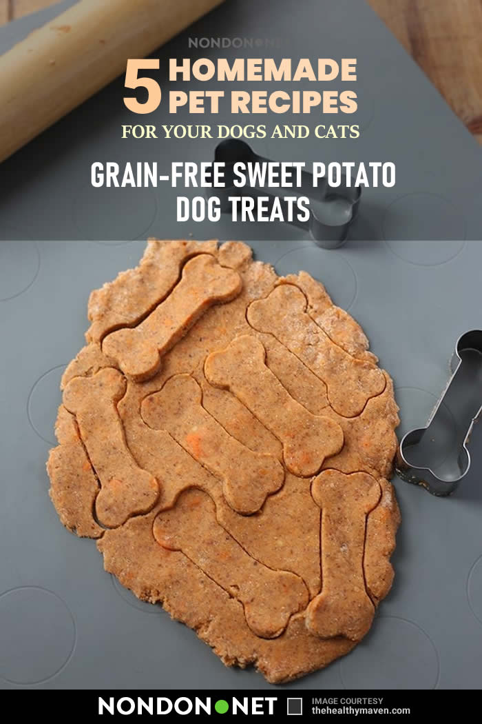 5 Homemade Pet Recipes for your Dogs and Cats- Grain-Free Sweet Potato Dog Treats #HomemadePetRecipes #HomemadeRecipes #Homemade #PetRecipes #DogTreats #Dogs #Cats #pumpkinpuree #Spinach #Carrot #Zucchini #peanutbutter #wheatflour #GrainFree #SweetPotato #Potato #almondmeal #coconutflour #cookie #Coconutoil #Masonjars