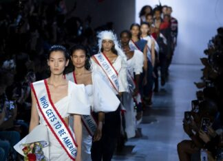 Making a statement: models sporting 'Who gets to be American?' sashes for Prabal Gurung's spring/summer 20 collection. Photograph: Craig Ruttle/AP