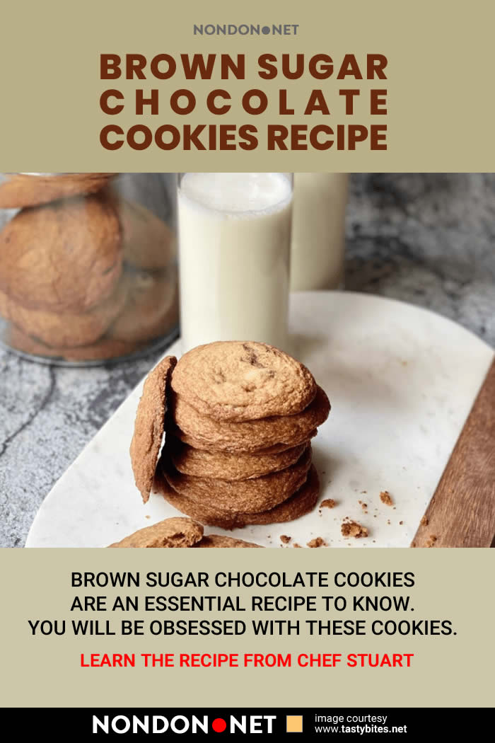 Brown Sugar Chocolate Cookies Recipe by Chef Stuart #BrownSugar #Chocolate #Cookies #Sugar #Cookie #ChocolateCookiesRecipe #ChocolateCookies #ChocolateCookie #ChocolateRecipe #CookiesRecipe #CookieRecipe #ChefStuart #bakingsoda #koshersalt #unsaltedbutter #darkbrownsugar #vanillaextract #chocolatechips #vanillapaste #ChocolateSnack #SnackCake