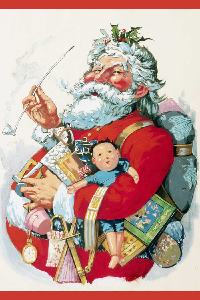 Cartoonist Thomas Nast drew several depictions of Santa Claus for Harpers Weekly. This cartoon comes from around 1881