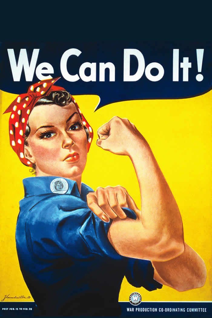 "Rosie the Riveter displaying that women ""Can Do It"""